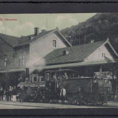 DEJ, GARA (1917), TREN SI LOCOMOTIVA CU ABUR, CIRCULATA SEP.''925 - Carte postala tematica, Printata