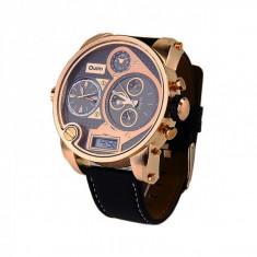 Ceas militar Oulm Quartz Chronograph 3-Dial 9316B, auriu - Ceas barbatesc, Fashion