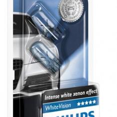 Set 2 becuri Philips W5W WhiteVision 12V 5W cod 12961BVB2