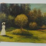 Peisaj cu femeie/ ulei pe panza, U/P, semnat Alin Edi - Pictor roman, Peisaje, Altul