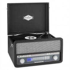AUNA EPOQUE 1907, sistem audio retro, gramofon, casete, bluetooth, USB, CD, AUX