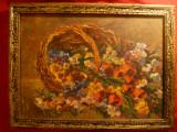 Tablou ulei pe carton - Cos cu Flori de camp - interbelic , dim.= 33x23,5cm