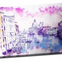 """Tablou pe aluminiu striat """"Pink Is the Sky over Venice"""""""