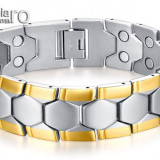 Bratara Magnetica Terapeutică din INOX 316L placată cu aur de 18k - cod BRA003