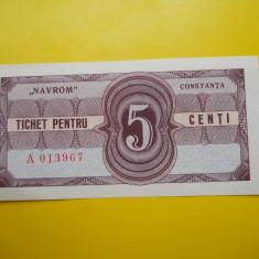 HOPCT TICHET PENTRU 5 CENTI NAVROM CONSTANTA - UNC - RARA - Bancnota romaneasca