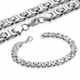 Colier și brățară din oțel chirurgical, model Bizantin, culoare argintie - Colier inox