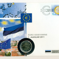 ESTONIA - FDC - 2 Euro 2011 - 45 Lei, Europa, Organizatii internationale