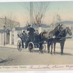 1705 - GALATI, carriage and Police - old postcard - used - 1909 - Carte Postala Moldova 1904-1918, Circulata, Printata