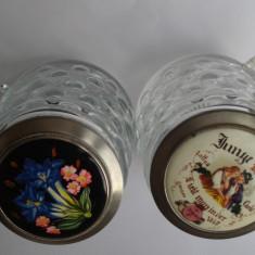 2 halbe din sticla sau cristal cu capac - Halba, Cristal/Sticla