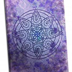 Tablou pe metal striat Violet Mandala