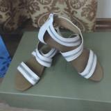 Sandale de dama new fashion, elegante si foarte comode, marimea 36 - Sandale dama, Culoare: Alb, Marime: 37, Piele sintetica
