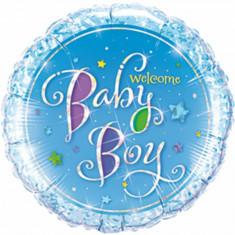 Balon Folie 45 cm Welcome Baby Boy Holografic, Qualatex 35312