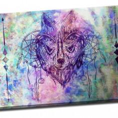 Tablou pe metal striat Wolf in a Dream-Catcher