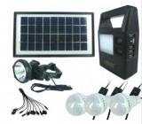 Panou solar kit fotovoltaic 3 becuri lanterna cap USB incarcare telefon GD8121