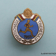 Insigna  -  SPARTACHIADA  TINERETULUI  1956