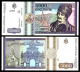 Set 3 bancnote UNC Romania 500 lei 1991 5000 lei 1992 2000 lei Eclipsa in folder