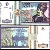Set 3 bancnote UNC Romania 500 lei 1991 5000 lei 1992 2000 lei Eclipsa in folder - Bancnota romaneasca, An: 2008