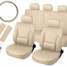 Set Huse Scaune Auto Ortopedice din Piele ECO + Husa Volan si Centuri, Culoare Bej - Husa scaun auto