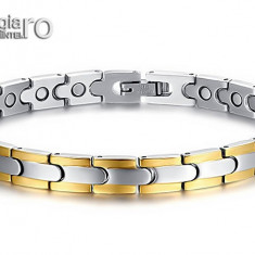 Bratara Magnetică din INOX cu neodim şi placată cu aur 18k - cod BRA008 - Bratara magnetice