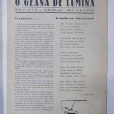 O Geana de lumina, Revista liceului Gh. Lazar, Anul I, Nr. 1 Decembrie 1933