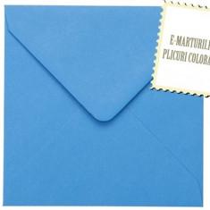 Plicuri patrate colorate invitatii/felicitare.Plicuri albastre 130mm x 130mm EM130BLUE