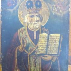 Icoana pe lemn romaneasca Sf. Nicolae, datata pe verso 1855 - Pictor roman