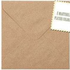 Plicuri patrate colorate invitatii/felicitare. Plicuri maro vintage 155x155mm EM155MARO