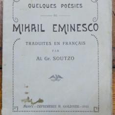 Mihail Eminesco, Poestraduites en francais par Al.Gr. Soutzo, 1911 - Carte veche