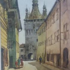 S COTIFIDE, SIGHISOARA 1938, SEMNAT SI DATAT DREAPTA JOS - Pictor roman