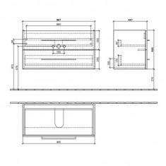 Villeroy & Boch, Avento, Mobilier suspendat cu 2 sertare, 96 cm, gri