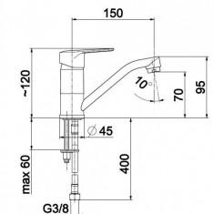 Armatura, German, baterie bucatarie stativa, cu pipa medie