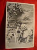 Ilustrata Fetita cu caine circulat 1908 cu stampila Ungara circ. la Bucuresti, Necirculata, Printata