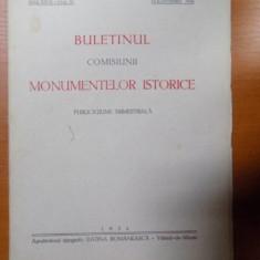BULETINUL COMISIUNII MONUMENTELOR ISTORICE, PUBLICATIE TRIMESTRIALA, ANUL XXVII, FASCICOLA 81, IULIE-SEPTEMBRE, Bucuresti 1934