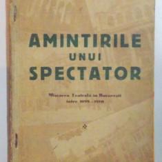 AMINTIRILE UNUI SPECTATOR, MISCAREA TEATRALA IN BUCURESTI INTRE 1899 - 1910 de M. FAUST MOHR, BUCURESTI 1937 - Carte Teatru