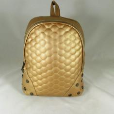 Rucsac/ghiozdan mare auriu cu capse+CADOU