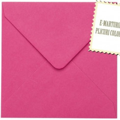 Plicuri patrate colorate invitatii/felicitare. Plicuri fuchsia 155x155mm EM155FR