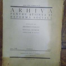 Arhiva pentru stiinta si reforma sociala, D. Gusti, Anul VIII, nr. 4, 1929
