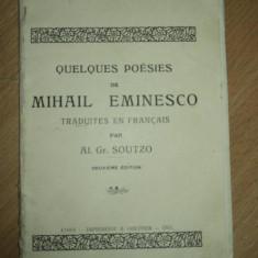 QUELQUES POESIES DE MIHAIL EMINESCU, AL GR SUTU, IASI 1911 - Carte veche