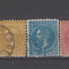 Romania 1871 Carol I 7 valori Paris - Timbre Romania, An: 1872, Regi, Stampilat