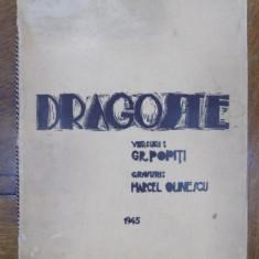 Dragoste, versuri de Gr. Popiti, gravuri de Mircea Olinescu 1945