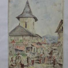 Targ la Campulung Muscel, litografie colorata dupa Szathmary - Pictor roman