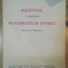 BULETINUL COMISIUNII MONUMENTELOR ISTORICE, PUBLICATIE TRIMESTRIALA, ANUL XXX, FASCICOLA 94, OCTOMBRIE-DECEMBRIE, Bucuresti 1937