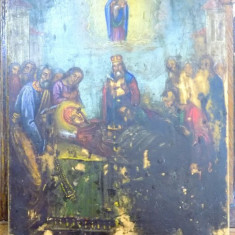 ICOANA PE LEMN, ADORMIREA MAICII DOMNULUI SEC 20 - Pictor roman