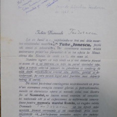 M G CANTACUZINO, STELIAN POPESCU, C. XENI DOCUMENT COMEMORATIV TAKE IONESCU, 1925
