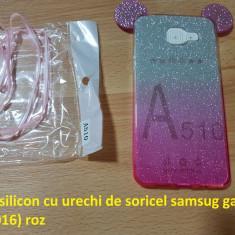 Husa silicon cu urechi de soricel samsug galaxy A5(2016) roz - Husa Telefon Samsung, Samsung Galaxy A5, Cu snur