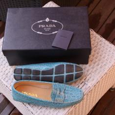 Pantofi PRADA Dama - Mocasini dama Prada, Culoare: Turcoaz, Marime: 38.5
