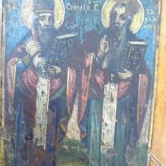 Icoana pe lemn, Sf.Spiridon si Sf. Haralambie, sfarsit de secol XIX - Pictor roman