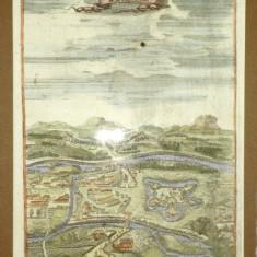 Gravura colorata Oradea, 1686 - Harta Romaniei