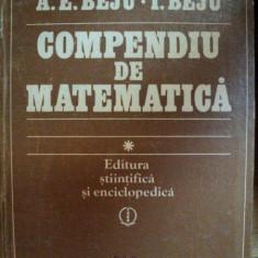 COMPENDIU DE MATEMATICA-ANGELA ELENA BEJU-IULIAN BEJU, BUC.1983 - Carte Matematica