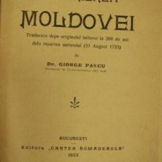 DESCRIEREA MOLDOVEI de DIMITRIE CANTEMIR 1923 - Carte Istorie